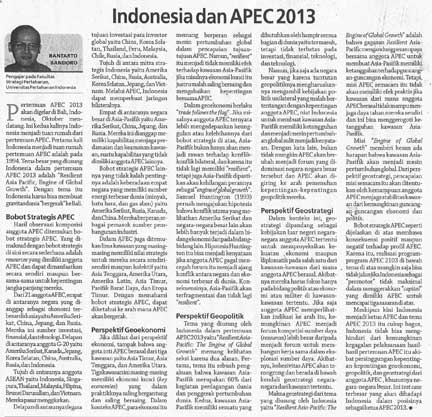 """Indonesia dan APEC 2013"" (Indonesia and APEC 2013)"