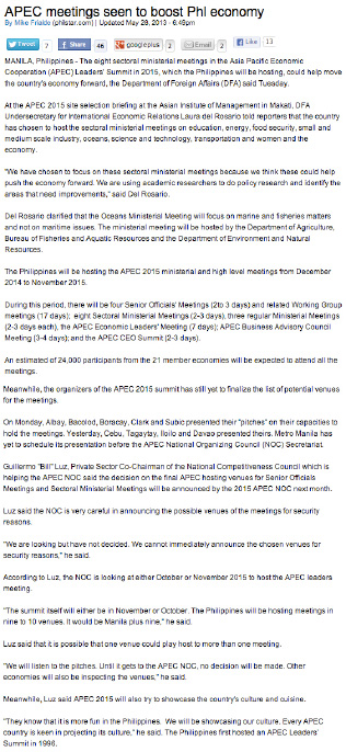 APEC meetings seen to boost Phl economy