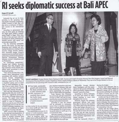 RI Seeks Diplomatic Success at Bali APEC