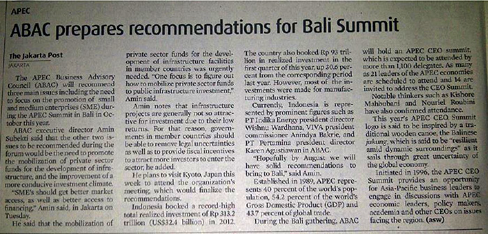 ABAC Prepares Recommendations for Bali Summit