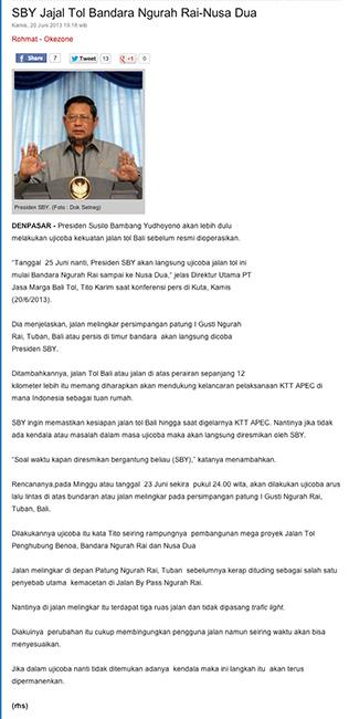 SBY Tries Ngurah Rai-Nusa Dua Highway (SBY Jajal Jalan Tol Bandara Ngurah Rai Int'l Airport-Nusa Dua)