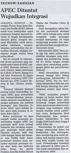APEC is Ordered to Bring Integration to Realization (APEC Dituntut Wujudkan Integrasi)